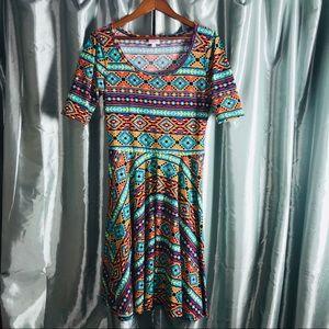 LuLaRoe Nicole Dress Sz Medium Aztec Print